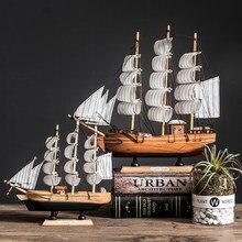Com luz led caribbean black pearl corsair vela barcos de madeira modelo veleiro casa decoração acessórios para sala estar