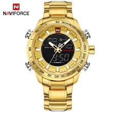 NAVIFORCE mężczyźni zegarek złoty zegarek męski cyfrowy LED sportowy zegarek męski kwarcowy podwójny wyświetlacz zegarki wodoodporne Relogio Masculino tanie tanio 24 5inch QUARTZ 3Bar Składane zapięcie z bezpieczeństwem STAINLESS STEEL 16mm Hardlex Papier 48mm NF-9093 24mm ROUND