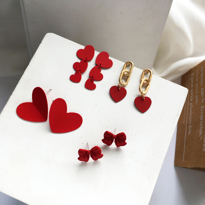 S925 Needle Fashion Earrings Autumn Winter Jewelry Celebration Warm Red Bowknot Sweet Heart Earrings For Women Girl Gifts Party