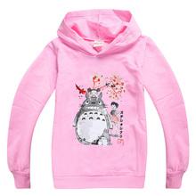 Kawaii Totoro graficzna śliczna bluza z kapturem dla dziewczynek 2020 jesień bawełna chłopcy odzież dziecięca bluza maluch kreskówkowe topy bluzy tanie tanio BIQUINI Moda COTTON Pasuje prawda na wymiar weź swój normalny rozmiar Cartoon REGULAR Unisex Pełna Kawaii Totoro Graphic Cute Hoodie