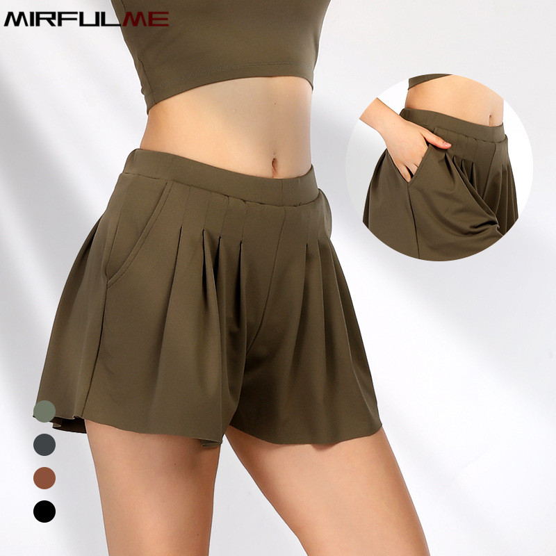Summer Women Sports Shorts Pocket Skort Running Shorts Pleated Tennis Mini Skirts Female Fitness Yoga Shorts Safety Gym Bottoms