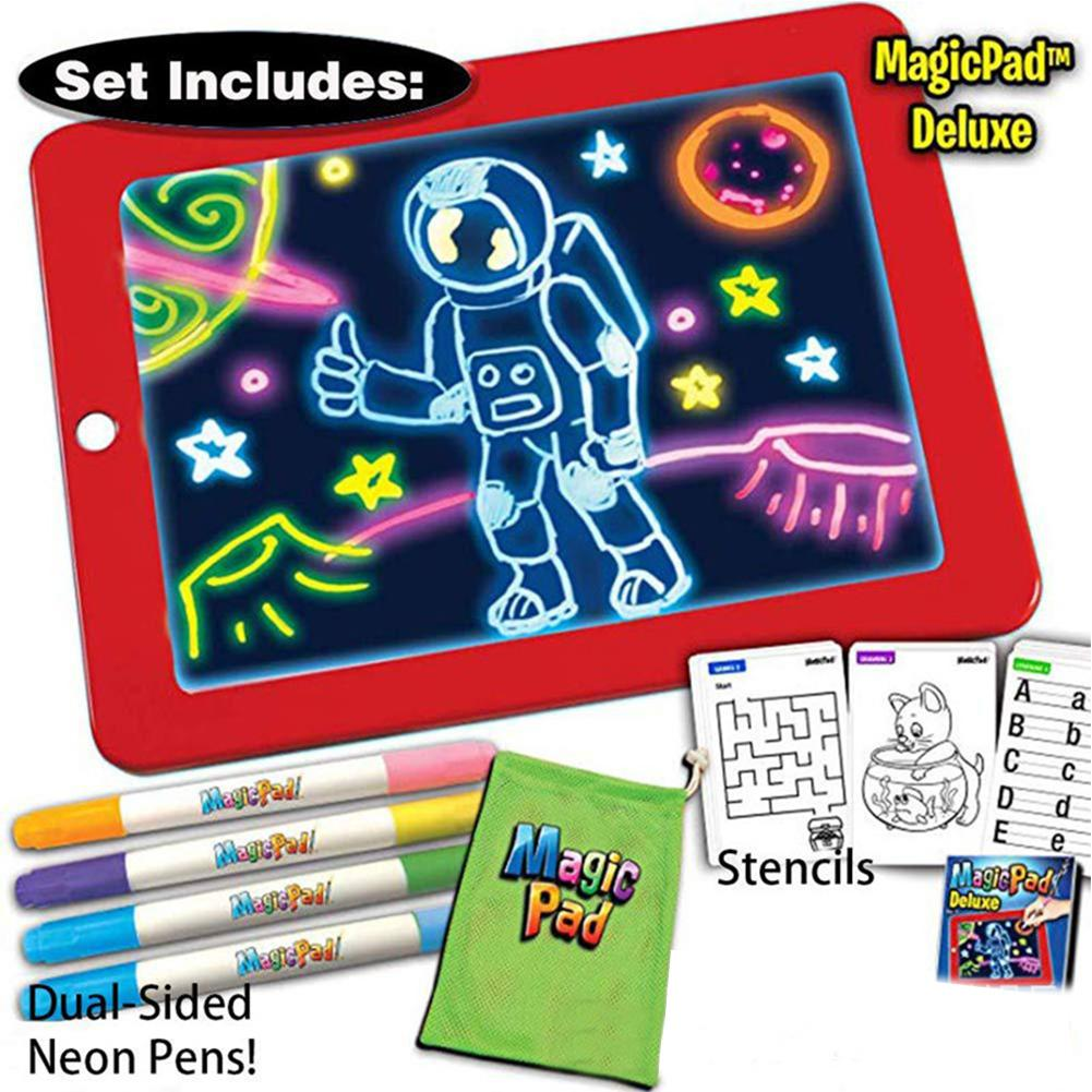 Kuulee 3D Magic Drawing Pad LED Light Luminous Board Intellectual Developmen Toy Children Painting Learning Tool