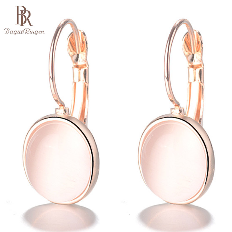 Bague Ringen Temperament Gemstone Earrings for Women Elliptical Cat's Eye Stone Rose Gold Color Silver 925 Jewelry Dating gift