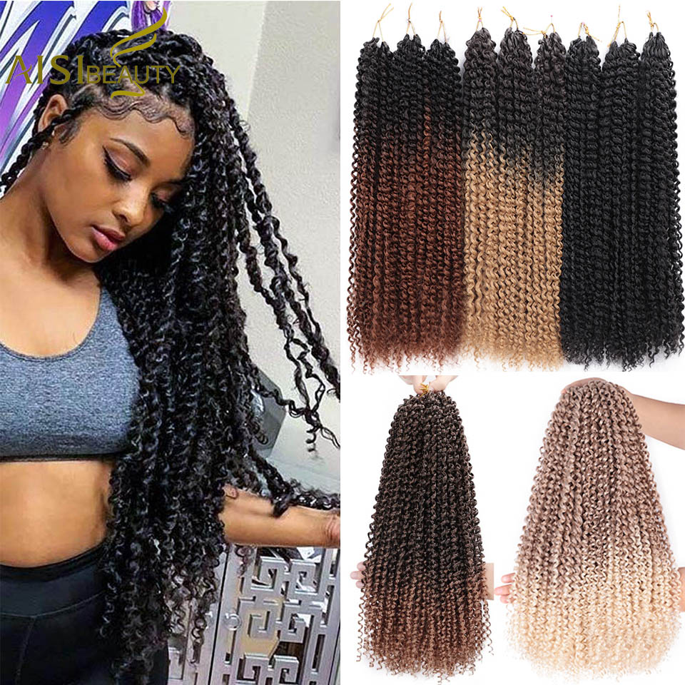 AISI BEAUTY Passion Twist Hair Ombre Bohemian Braid Crochet Hair 18inch Crochet Braiding Synthetic Hair Extension Blonde Black