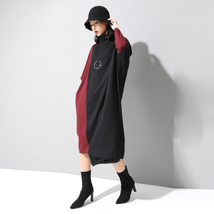 Image 2 - [EAM] Women Knitting Contrast Color Big Size Dress New High Neck Long Sleeve Loose Fit Fashion Tide Spring Autumn 2020 1D674