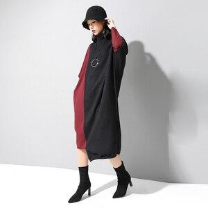 Image 2 - [EAM] فستان حريمي حياكة بألوان متباينة مقاس كبير برقبة عالية وأكمام طويلة وفضفاضة مناسب لربيع وخريف 2020 1D674