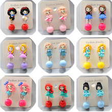 Disney princess girl Mickey mouse less hole doll Accessories clip earring pendant jewelry earring minnie Frozen dangle earring