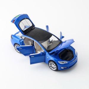 1/32 Alloy Tesla Model S 66063 Saloon Toy Vehicle Simulation Sound Light Pull Back Toys Car For Children Kids Gift