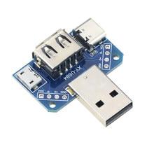 Plaque adaptateur USB 4 en 1, DC 5V vers USB vers type-c 4P 2.54mm, connecteur mâle vers femelle