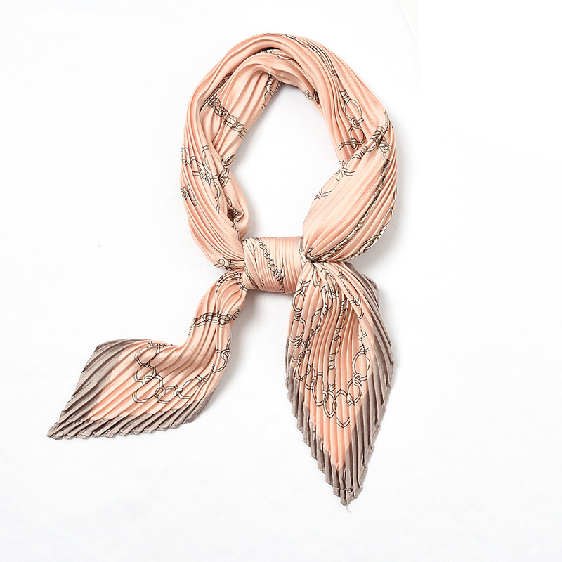 Women Crinkle Silk Small Neck Scarves Retro Satin Square Stripe High Quality Girl  Scarf Bandana Neckerchief Neck Tie Headwraps