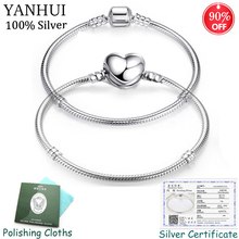 Sent Certificate! Luxury Original 925 Silver 2 Styles Chain Bracelet Bangle for Women Fit DIY Charm Bead Authentic Fine Jewelry authentic 925 sterling silver bead charm snake chain fit original pans bracelet with glue heart clasp for women diy jewelry