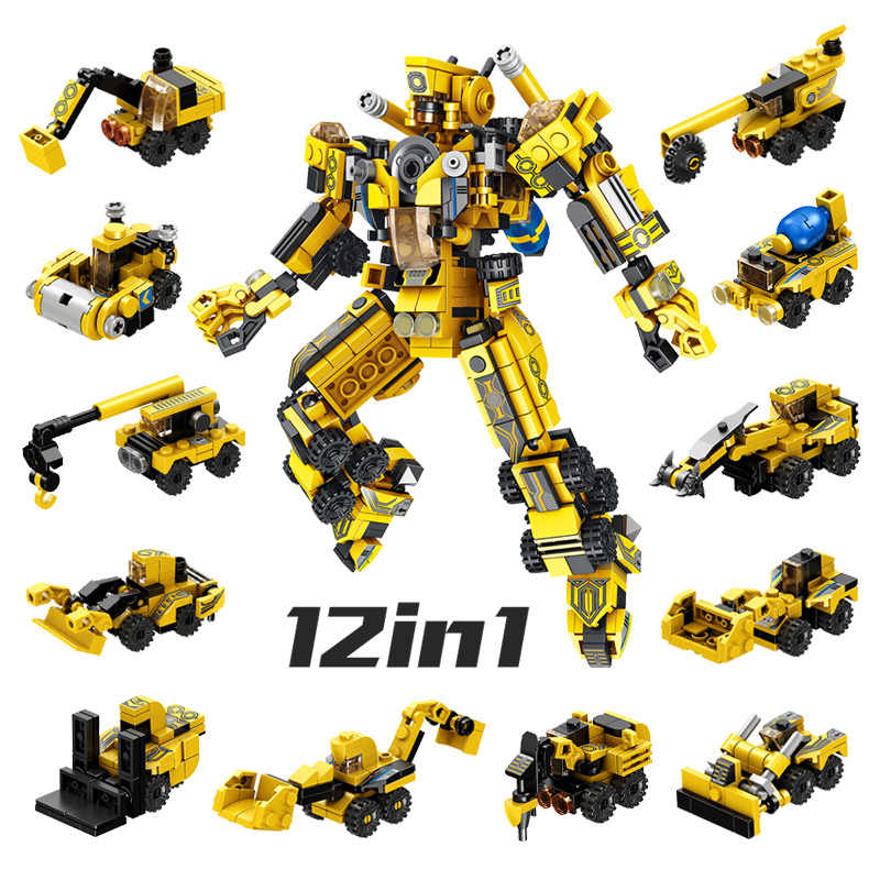 12 In 1 Deformation Robot Transformation Engineering Vehicle Military DIY Legoed Blocks Kit Education Puzzle Toys Kids Gifts