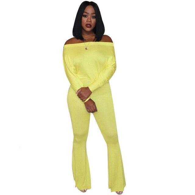 Neon Yellow Sexy Rompers Womens Jumpsuit Nova Slash Neck Long Sleeve Flare Bodysuit Autumn Winter Plus Size One Piece Overalls