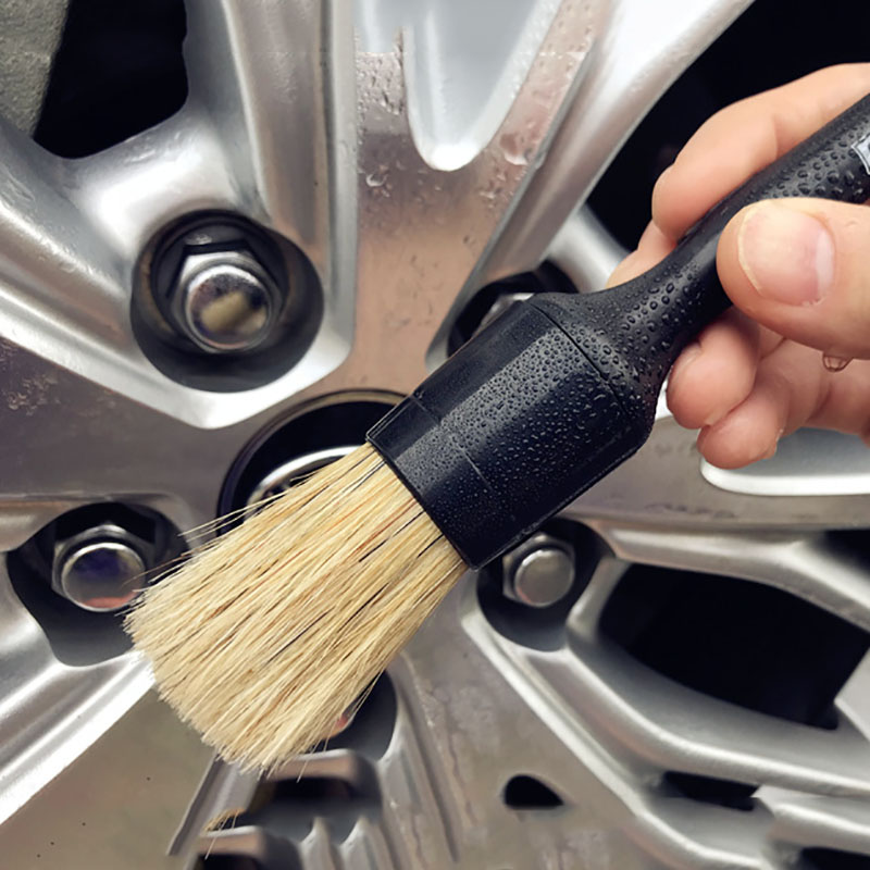 Heavy Duty Snake Handle Natural Boar Car Detailing Brush For Dashboard Wheels Grille Emblem Car-styling Cleaning