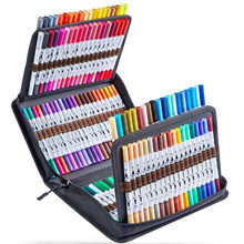 24/36/72/100/120 colores cepillo pluma pincel de marcador de la escuela Fineliner Color pluma para colorear dibujo marcadores Manga pluma de dibujo