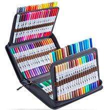 24/36/72/100/120 cores escova caneta marcador escola suprimentos fineliner cor caneta marcadores de esboço para colorir manga caneta conjunto para desenho
