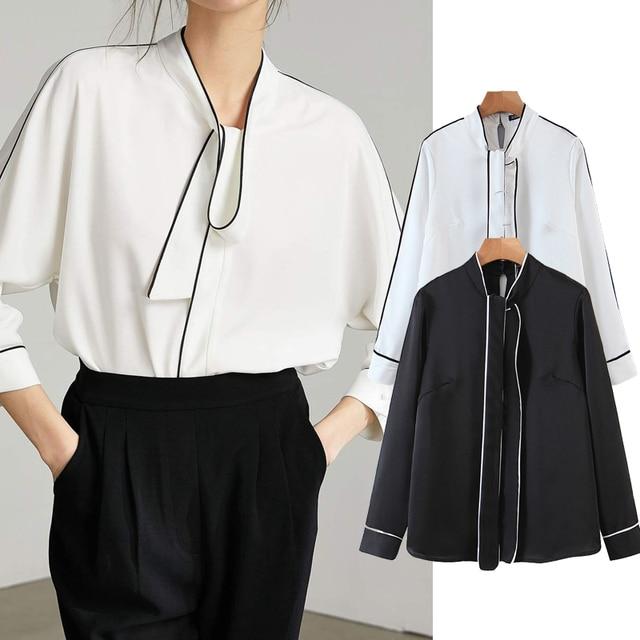 ZA 2020 New Fashion Women Patchwork Solid color chiffon shirt Blouses bowknot Long Sleeve Chiffon Shirt Casual Loose Tops 1