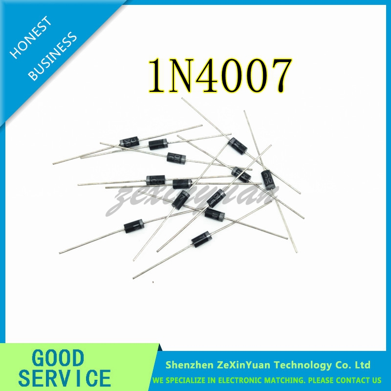 200PCS/lot 1N4007 <font><b>4007</b></font> 1A 1200V DO-41 Rectifier Diode image
