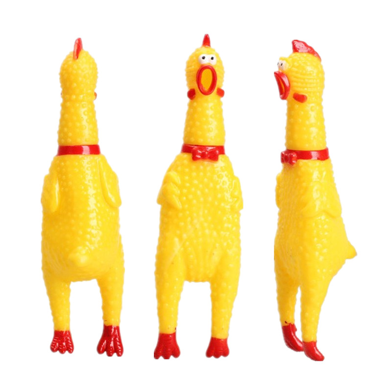 17cm Yellow Screaming Rubber Chicken Toy Pressure Relief Squeak Squeaker Gift Hot Sale Puppy Chew Squeak Venting Toys