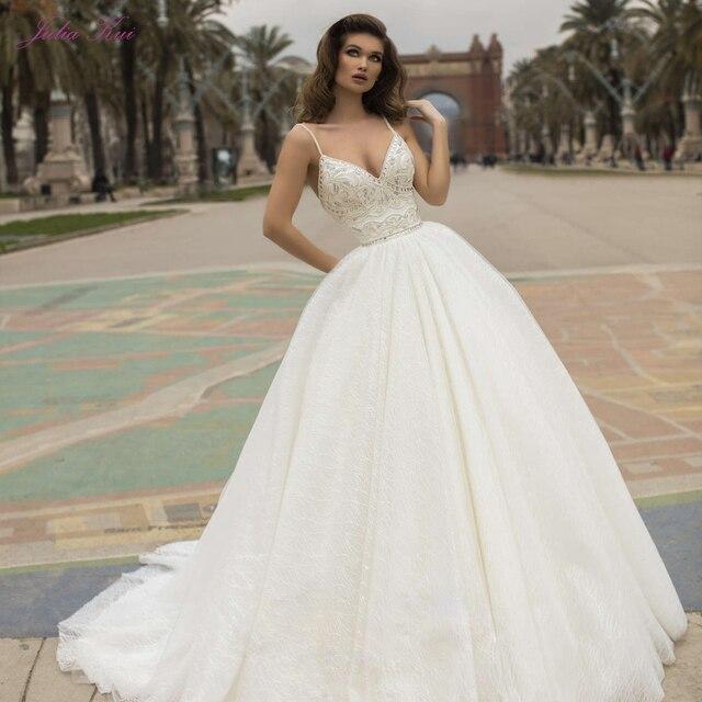 Julia Kui robe de mariée élégante avec des perles, robe de mariée, avec traîne Court, bretelles Spaghetti, dos nu, modèle 2020