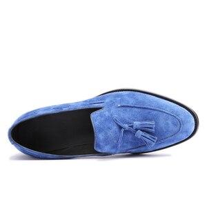 Image 2 - Zapatos de cuero de ante para hombre, moda de cuero genuino, vestido de oficina, boda, marca de lujo, mocasín de fiesta, Casual