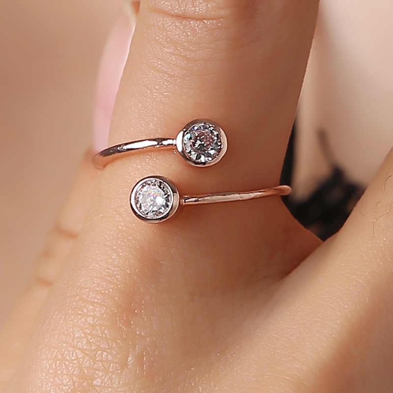 2019 פתוח מתכוונן לנקבה סופר מבריק זירקון טבעת אירוסין חתונה לנשים פשוט עלה זהב טבעת עבור נשים