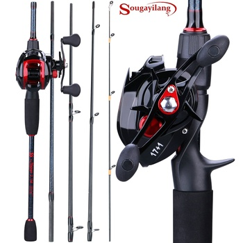 Sougayilang Fishing 1.8-2.4m Casting Rod Reel Combos 5 Pieces Casting Fishing Rods and 17+1BB Baitcasting Reels Set
