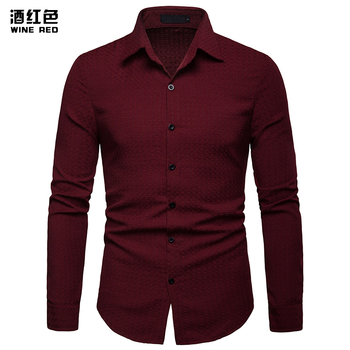 New Arrived 2019 mens shirts Brand solid Long sleeve Casual Square Collar Regular Business Simplicity Men Dress Shirts Male Tops