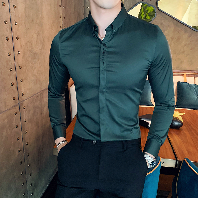 British Style Men Shirt Autumn Winter Long Sleeve Shirts For Men Slim Fit Casual All Match Gentlemen Shirt Dress Party Tuxedo