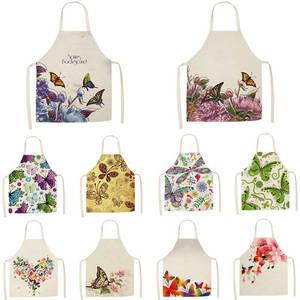 Delantal de cocina hermoso estampado de mariposas, delantales de lino de algodón sin mangas para el hogar para hombres y mujeres, accesorios para hornear WQTF12