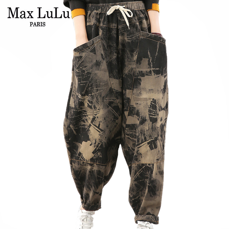 Max LuLu 2020 Spring Korean Fashion Ladies Vintage Printed Jeans Womens Casual Loose Harem Pants Female Oversized Denim Trousers