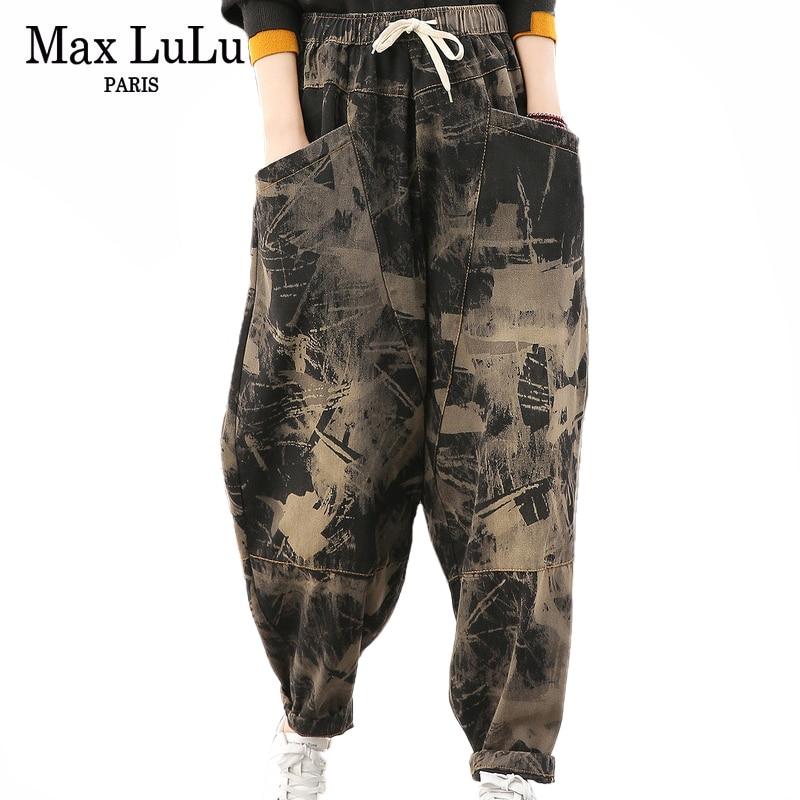Max LuLu 2020 Spring Korean Fashion Ladies Vintage Printed Jeans Womens Casual Loose Harem Pants Female Oversized Denim Trousers