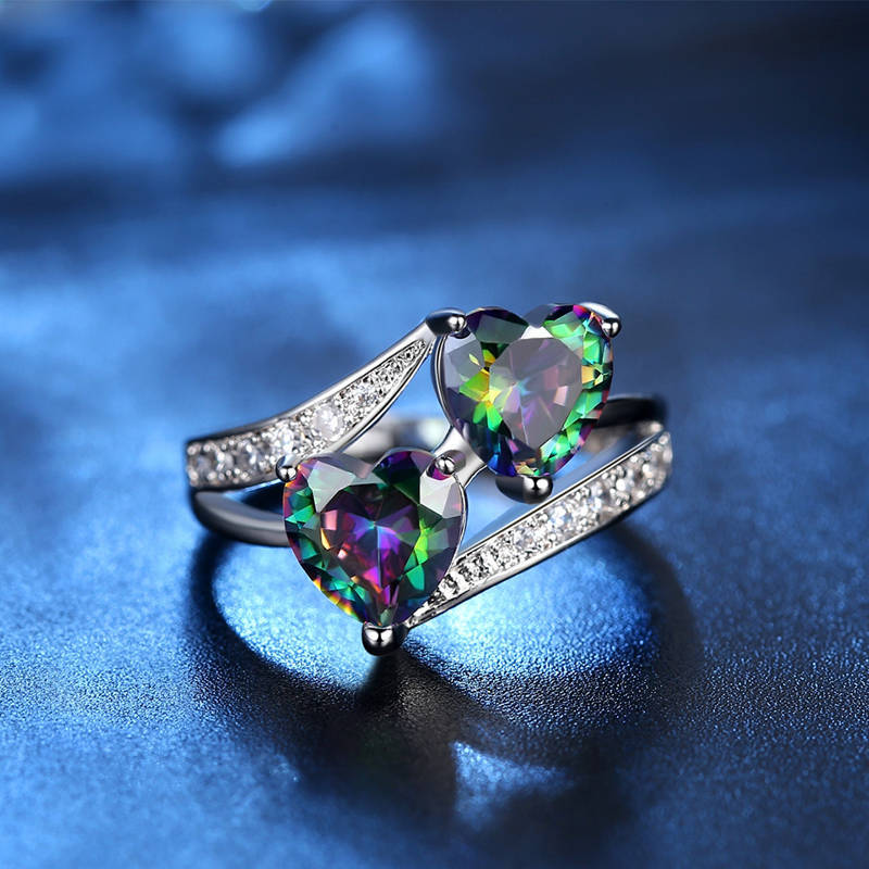 DARLING HER Silver Plated Multicolor Opal Ring Enamel /& Clear CZ Finger Ring Women Ring Wedding Jewelry Gifts