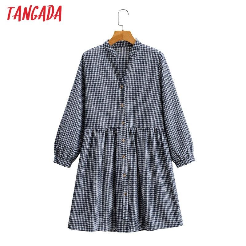 Tangada 2020秋冬女性チェック柄プリントシャツドレス長袖オフィスレディースショートドレスSY135