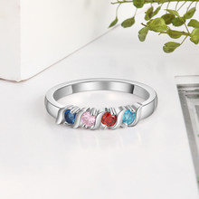 Personalized Mothers Ring 6 Birthstones For Women Custom Wedding Promise Rings BBF Jewelry(China)