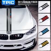 TPIC Carbon Fiber Car Hood Sticker M Performance Car Decals Decor For BMW E90 E46 E39 E60 F30 F10 F15 E53 X5 X6