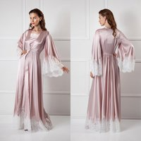 Two Pieces Women Sleepwear Bathrobe Long Silk Kimono Dressing Gown Babydoll Lace Lingerie Bath Robe Black Camisola De Dormir