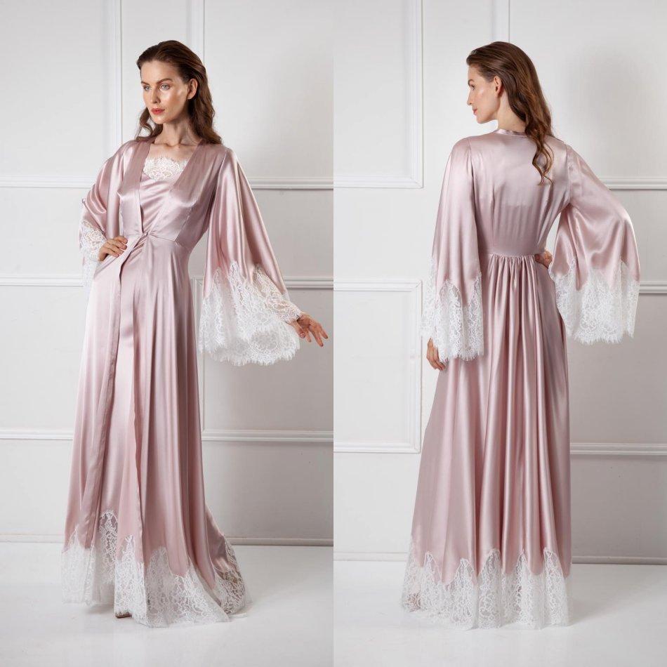 Two Pieces Women Sleepwear Bathrobe Long Silk Kimono Dressing Gown Babydoll Lace Lingerie Bath Robe Black Camisola De Dormir