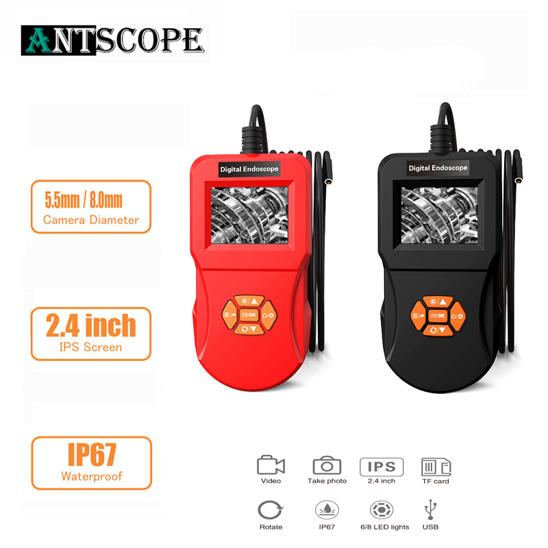 Antscope 2.4 inch Industrial Endoscope Camera 1080P Inspection Camera for Auto Repair Tool Hard Tube Handheld Car Endoscope 24