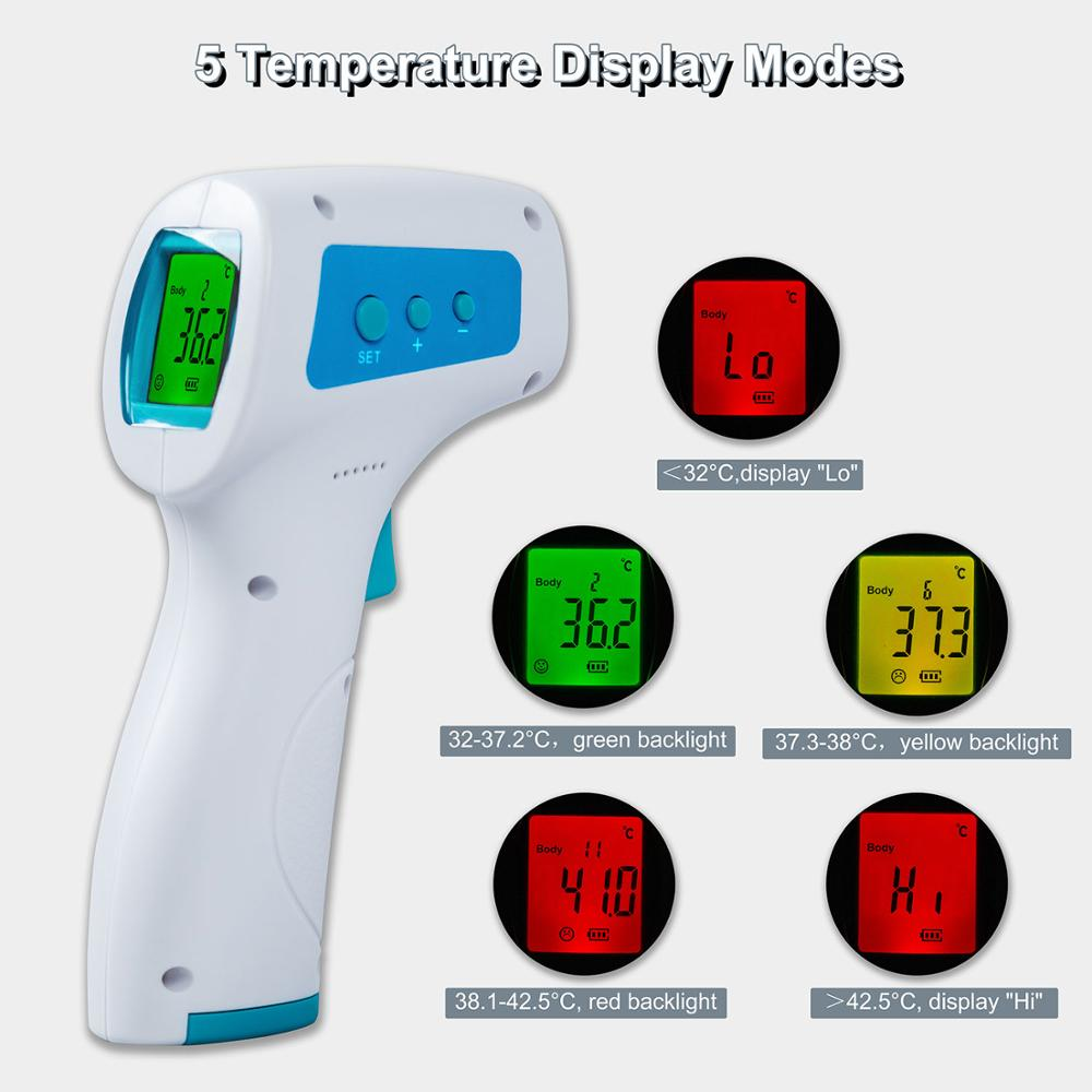Forehead Infrared Thermometer Gun Digital Non-Contact Termometro For Baby Adults Body Ear Laser IR Thermometer With Fever Alarm