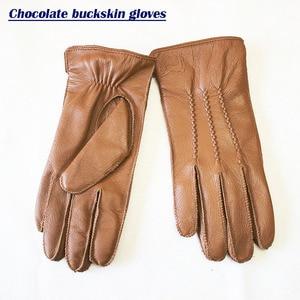 Image 2 - Перчатки из овчины, Мужские осенне зимние кожаные перчатки с рисунком и бархатным утеплителем, уличные Верховые перчатки