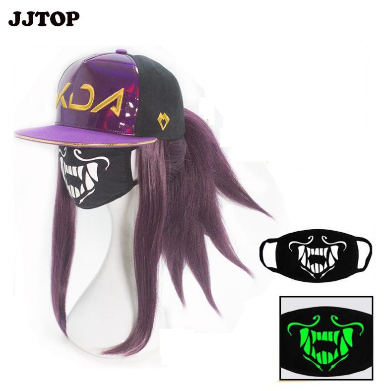 Sombrero de Cosplay de KDA AKALI para hombre y mujer, máscara de Cosplay de LoL Akali, sombrero de Cosplay de K/DA para mujer, máscara luminosa para juego
