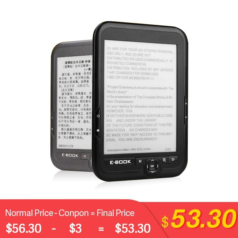 CLATE 4/8/16G e-ink E-Book Linux lecteur Ebook 3.5mm casque Eink écran E-Book E-Reader avec étui MP3, WMA PDF HTML