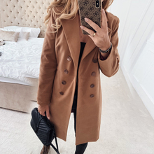 UZZDSS Slim Winter Wool Blends Oversize 3XL Women Long Coat Autumn Woolen Jacket Office Lady Turn-Down Collar Overcoat Outerwear cheap COTTON Polyester Casual Button Wool Blends Solid Double Breasted REGULAR Du5419 Full