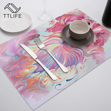 TTLIFE Flower Pattern Dining Table Decoration Placemat Kitchen Printed Fabric Mat Linen Heat Insulation Coaster Tableware Pad
