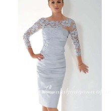 Dresses Wedding Silver Mother-Of-The-Bride Groom Sheath for Short Appliques 3/4-Sleeves