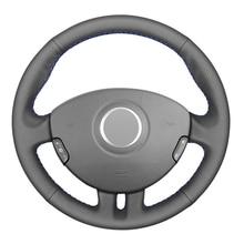 Черный ПУ Искусственная Кожа DIY ручной работы чехол рулевого колеса автомобиля для Renault Clio 3 2005-2013 Рено Клио 3 RS 2005-2013