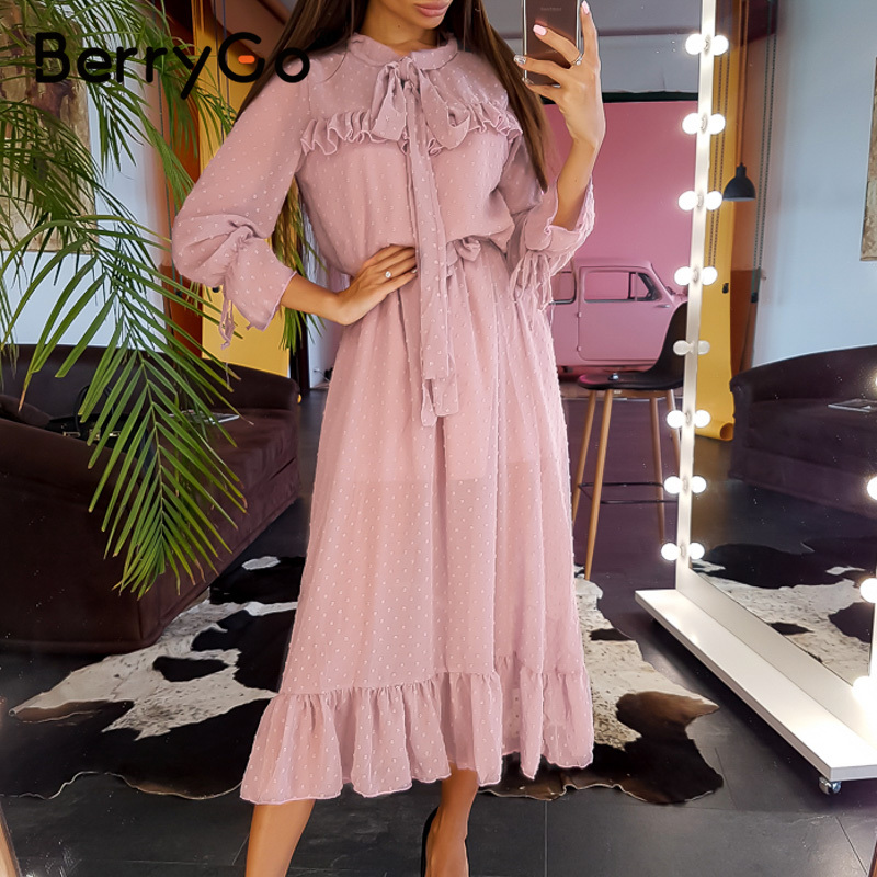 BerryGo Tie-neck Office Women Dress Elegant Ruffled High Waist Bow Long Sleeve Dress Chic Work Spring Summer Midi Ladies Dresses
