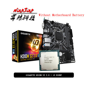 Intel Core i3 9100F CPU + Gigabyte GA H310M S2 2.0 (rev. 1.0) Motherboard Suit LGA 1151 CPU + Motherbaord Suit Without cooler