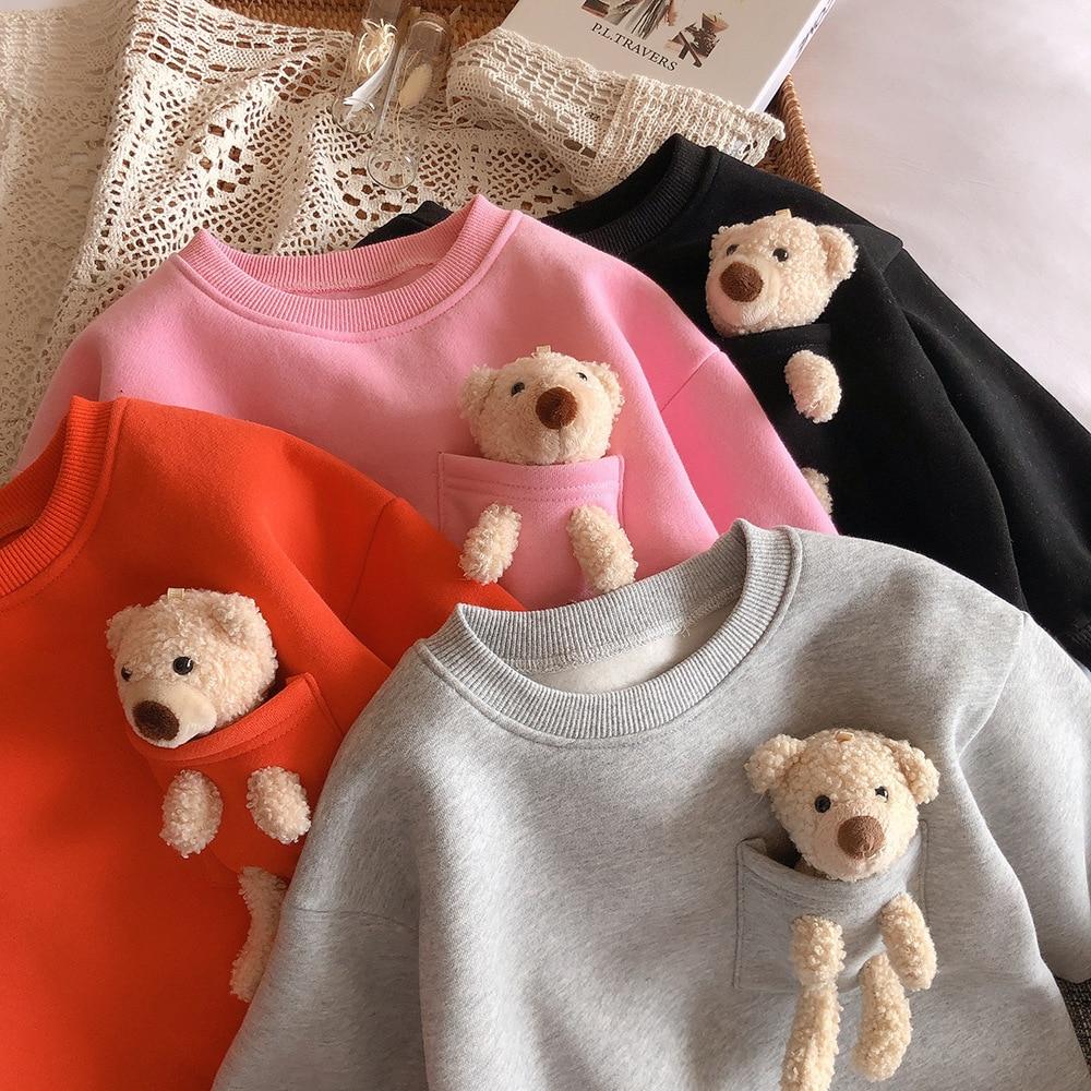 2021 Autumn Winter New Arrival Girls Fashion Bear T Shirt Kids Candy Color Warm Fleece Tops  Kids Clothes 2